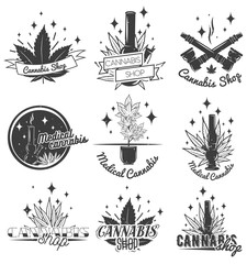 Set of medical marijuana labels in vintage style. Cannabis emblems, badges and logos for shop design