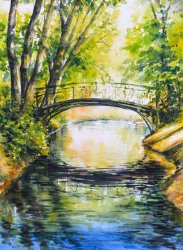 Summer landscape with bridge over river in park.Picture created with watercolors.