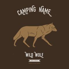Wild wolf vector illustration. European animals silhouettes