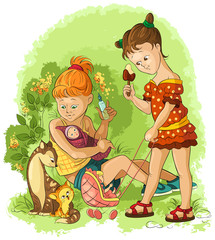 Little girls plays with a dolls. Mothers and daughters