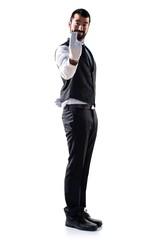 Luxury waiter coming gesture
