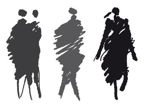 Mode - Vier Models in Grautönen - Silhouette