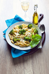 pasta salad with broccoli and Parmesan cheese. with white wine .