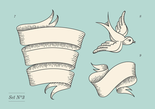 Set of old vintage ribbon banners and drawing in engraving style. Hand drawn design element. Vector Illustration.