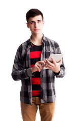 Student boy holding grey tablet isolated