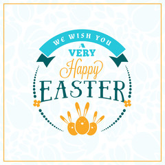 Happy Easter. Vector Vintage Holiday Badge. Vector Template for Greeting Card. Floral Background. Happy Easter Day, Easter Sunday, Easter Greeting Card