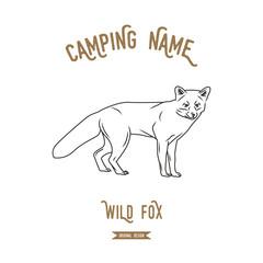 Fox vector illustration. European animals silhouettes vintage.