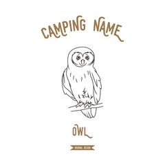 Owl vector illustration. European animals silhouettes vintage.