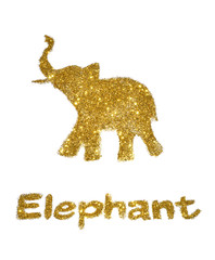 Nice abstract elephant of golden glitter, with trunk raised up - interesting element for your design and good luck symbol