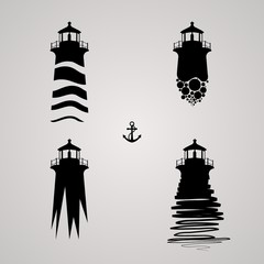 vector illustration of lighthouse set. lighthouse set