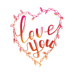 love you hand lettering - handmade calligraphy vector.