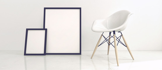 Modern Chair and Picture Frames in White Room