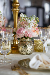 Pink floral table arrangement flowers event