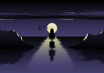 Vector illustration of moon over the sea and ship. beautiful night at the sea. the ship embarks on a journey. Sea birds. Night sea logo.