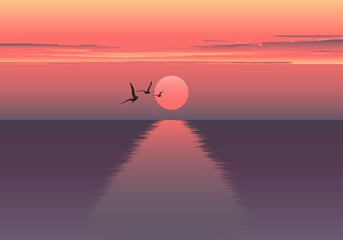 Vector horizontal illustration of sunset over the sea and ship. beautiful sunrise at the sea. the ship embarks on a journey. Sea birds.