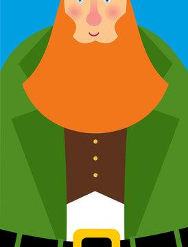 Good Leprechaun in green frock coat. Big Red Beard. The cheerful