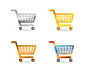 Shopping carts icons made of silver, gold and bronze metal