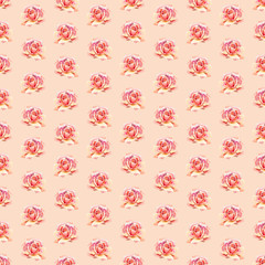 Watercolor roses. Seamless wallpaper floral pattern.