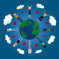 Vector Flat Design World Peace Illustration with the Earth Globe, People and Friendship