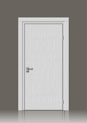 Wooden door in vector graphics on the wall in the interior of the room