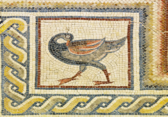 Jordan. Mount Nebo - Khirbet al Mukhayyat. Fragment of floor mosaic from the Church of Preacher John - bird detail