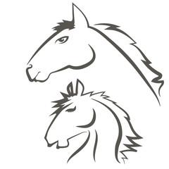 Horses Icons Isolated on White Background