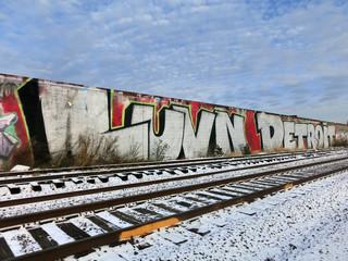 Detroit, Michigan train tracks and snow - landscape color photo
