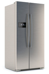 refrigerator with display isolated on white background