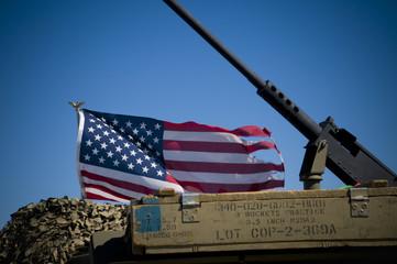 American Flag and Machine Gun