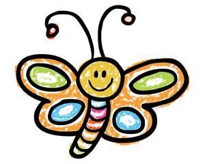 Lustiger, handgezeichneter Schmetterling von der Seite / Kreidezeichnung, farbig, Vektor, freigestellt