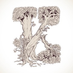 Magic forest hand drawn from trees by a vintage font - K