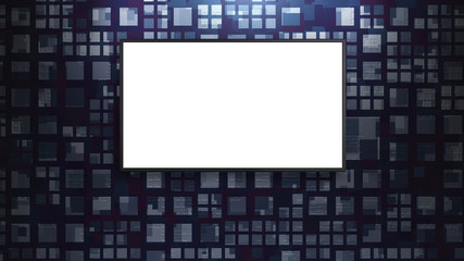 led tv display on abstract pattern wall white