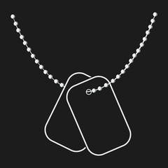Dog Tags with Chain Vector Icon