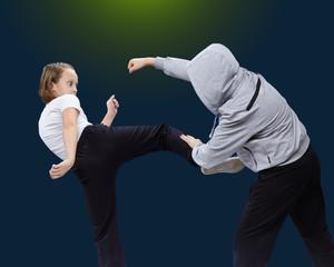 Athletes train self-defense techniques