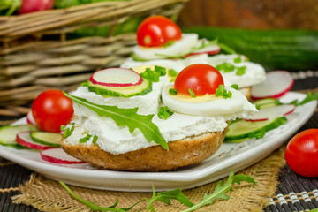 spring sandwich with curd cheese and chives.Shallow depth of fie