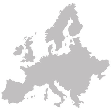map of Europe in gray on a white background
