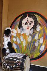 Maa Durga and musical instrument. Abstract color painting.