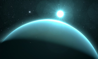 Wall Mural - planet Uranus with sunrise on the space background