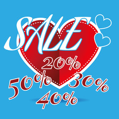 Happy Valentine's Day Sale Banner. Big Red Heart and White Promotional Text on Blue Backdrop. Sale Message Digital background vector percentage discount banner.