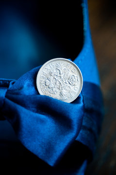 Sixpence Coin for Goodluck on Bride's Shoe