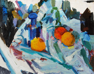 Oil painting still life with with a bottle and peachs in bright colors  On Canvas