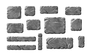 Set of realistic stone textured buttons and fantasy interface elements. Rocks.
