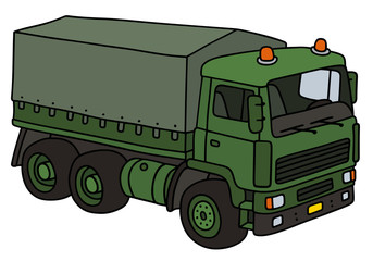 Green military truck / Hand drawing, vector illustration