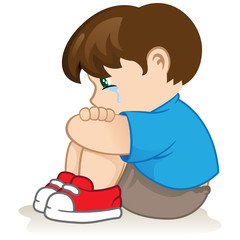 Illustration of a sad child, helpless, bullying
