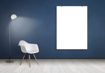 White poster frame mock up hanging on wal