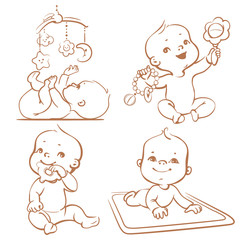 Cute little babies with different toys.