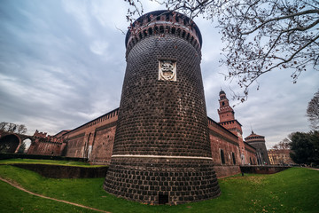 Fototapete - Milan, Italy: Sforza Castle, Castello Sforzesco