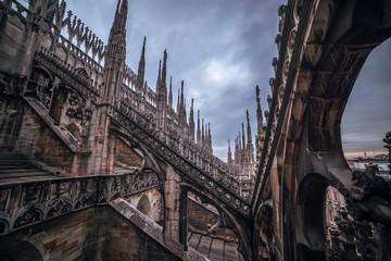 Wall Mural - Milan, Italy: Gothic roof of Cathedral