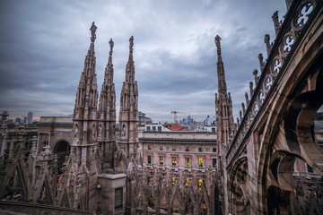 Fototapete - Milan, Italy: gothic roof of Cathedral