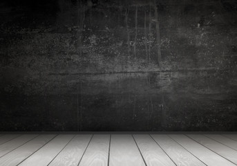 Empty interior for design, poster or text on free space. Black wall and white wooden floor.